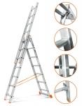 3х9 Лестница алюминиевая раздвижная 3 секции 9 ступеней
