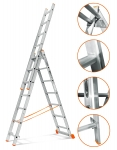 3х17 Лестница 3-х секционная алюминиевая 17 ступеней