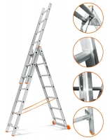 3х6 лестница алюминиевая 3 секции 6 ступеней